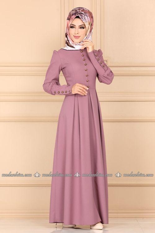 Modaselvim Elbise Aksesuar Dugmeli Pileli Elbise Asm2156 Gul Kurusu Islami Giyim Elbise Elbise Modelleri