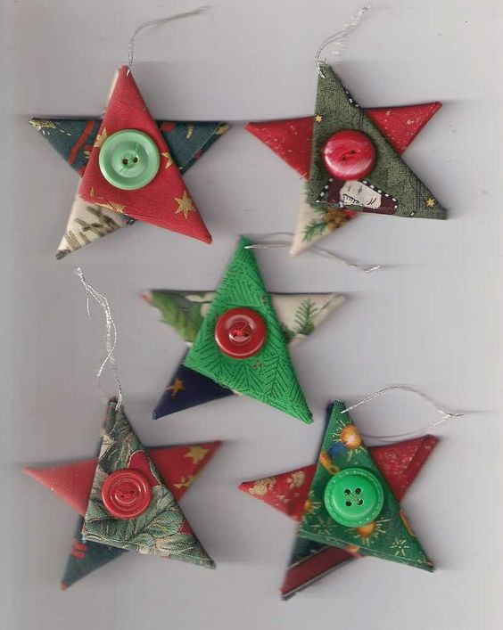 Star Christmas ornaments, fabric star, country cottage Christmas, Christmas…: