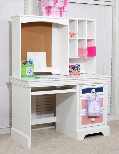 puter Desk in White Finish w Keyboard Tray Drawers