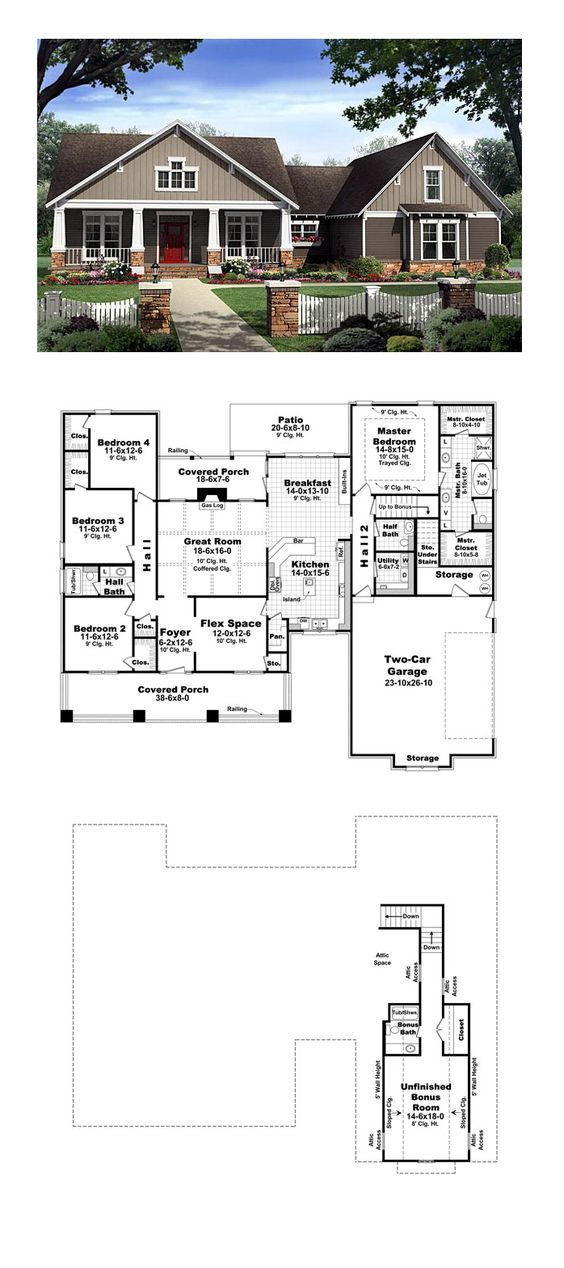 Craftsman House Plan 59198   Total Living Area: 2400 sq. ft., 4 bedrooms and 2.5 bathrooms. #craftsmanhome