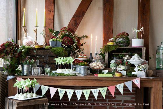 Sweet table Rétro champêtre anniversaire enfant 1 an Marius