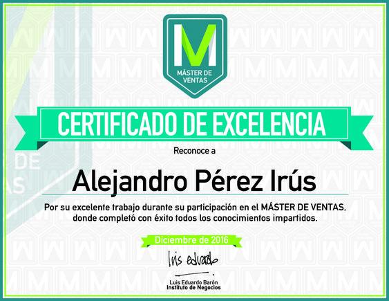 2016 Certificado de Excelencia por Curso Master Ventas en Internet y los Infoproductos Alejandro Pérez Irús Mentor Formador Inmobiliario