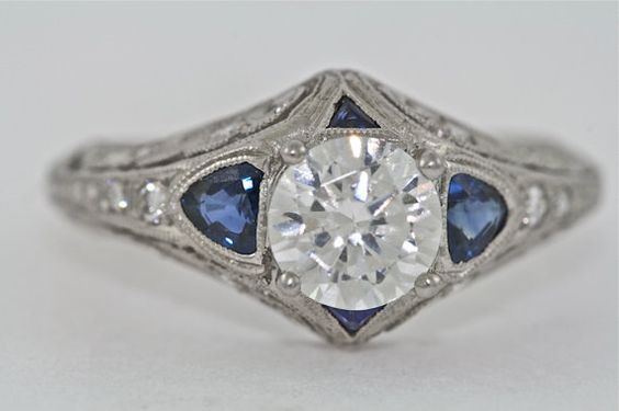 Platinum Diamond and Sapphires Edwardian by MasterPieceJewelers