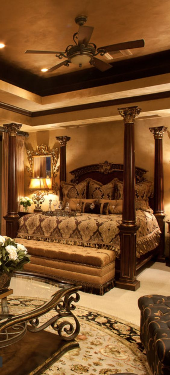 Old world mediterranean italian spanish tuscan homes for Tuscan bedroom design