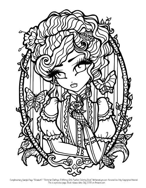Free Hannah Lynn Sample Page Victorian Darlings Coloring Book