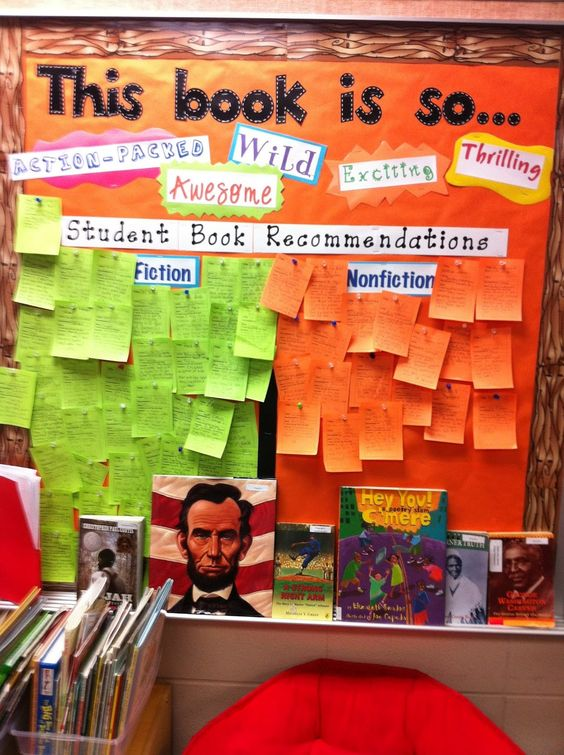 Students recommending what to read; posted in the classroom library. Print a template on the post it's.