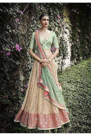 Beige With Sea Green Netted Lehenga Choli Online ,Indian Dresses - 1