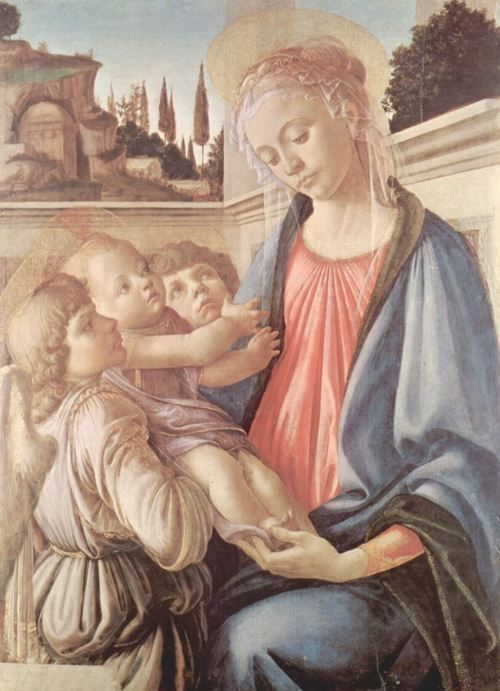 Sandro Botticelli.  Madonna und zwei Engel. 1468-1469, Tempera auf Holz, 100 × 71 cm. Neapel, Galleria Nazionale di Capodimonte. Italien. Renaissance.  KO 02475