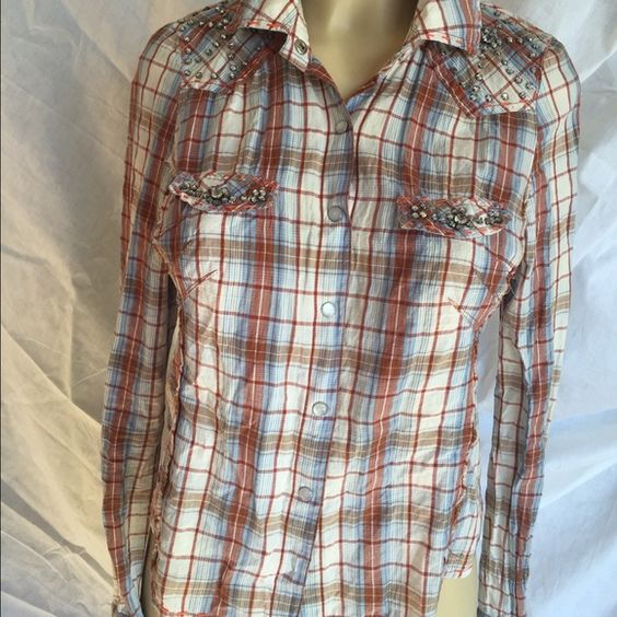 Rhinestone Plaid Top Barely used. Worn only a few times, bought from Nordstrom. Tops Button Down Shirts