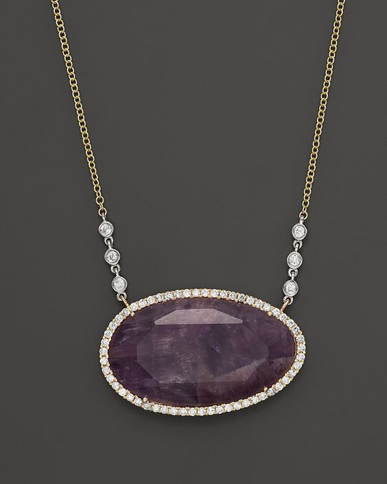 """Meira T Diamond and Rough Amethyst Pendant Necklace in 14K Yellow Gold, 16"""""""