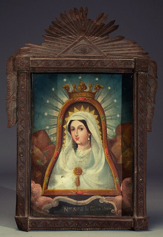 Nuestra Señora de la Cueva Santa A Mexican retablo painting of Our Lady of the Holy Cave.