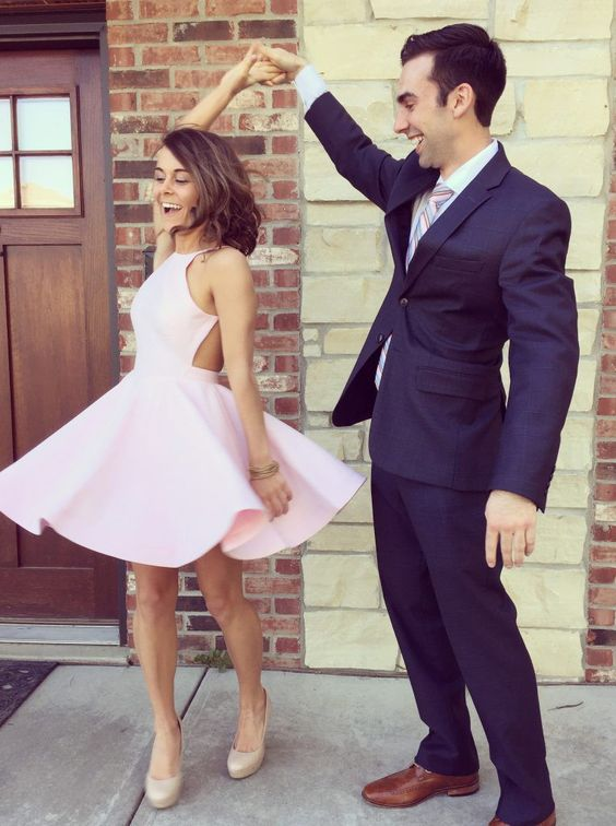 Buy Simple A-line Pink Short Homecoming Dress/Party Dress with Backless Special Occasion Dresses under US$ 92.99 only in SimpleDress.