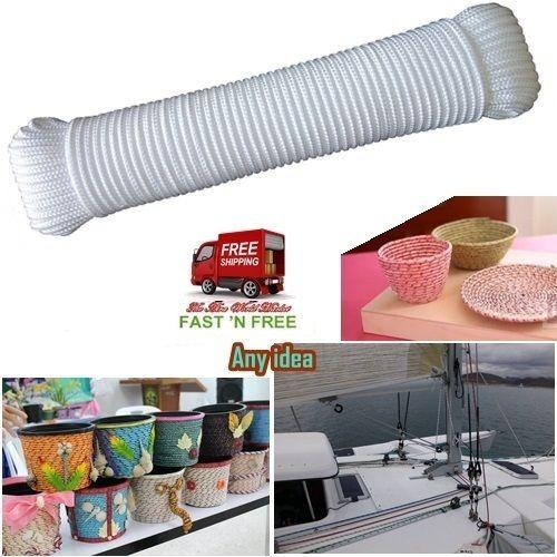 Rope 100 Feet By 3/16 Inch Diamond Braid Nylon White Use Tool Marine Industry US #Yamei