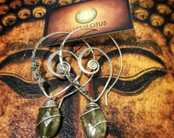 Green Garnet, Quartz and sterling silver swirl earrings. Handmade with love by Gypsy Lotus