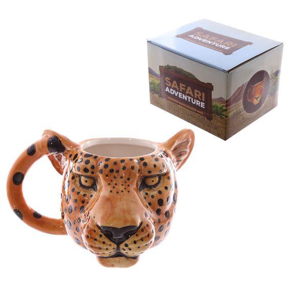 Leoparden-Kopf-förmige Keramik Tasse