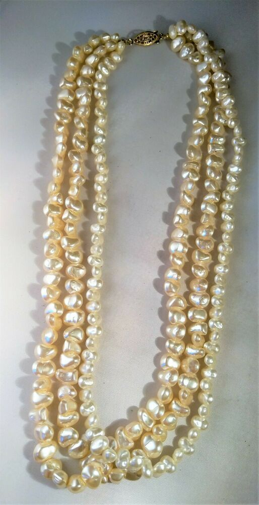 Vintage Long Three Threads Ivory River Pearls Necklace golden and pink Beads
