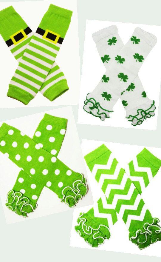 Girls Green and White St. Patricks Day Legwarmers Chevron Shamrocks Dots Boutique Leg Warmers 0-6yrs Baby Girls by BabyGirlTutus on Etsy