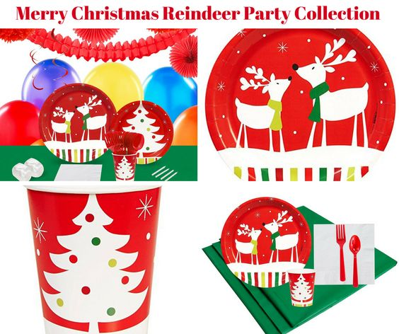 Merry Christmas Reindeer Party Banner