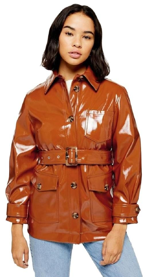 Topshop Brown Patent High Gloss Belted Jacket Size 12 L In 2020 Belted Jacket Topshop Rainwear Fashion