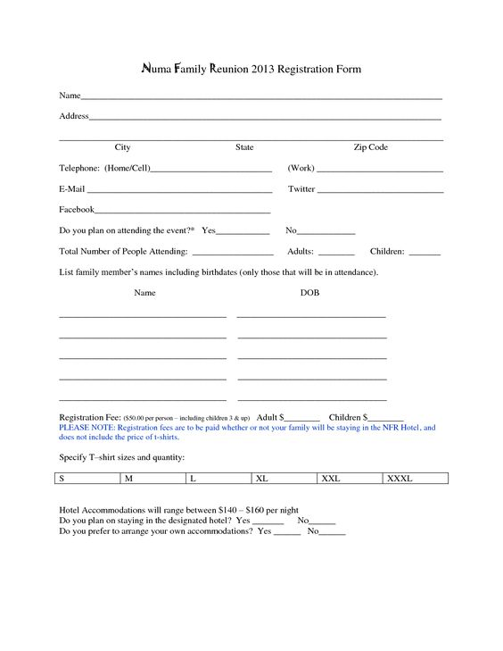 Family Reunion Registration Forms Printable More Famous Family
