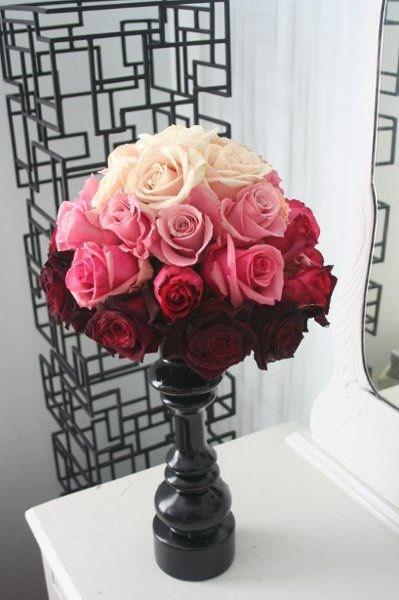 Bridal gowns ombre rose flower and centerpieces