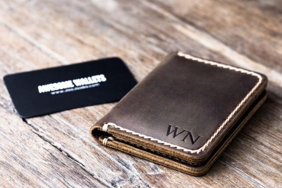 Wallet PERSONALIZED Mens Leather Card Wallet Gift by JooJoobs