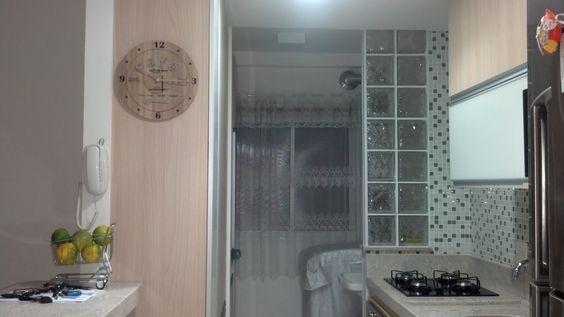 Divisória em bloco de vidro  Divisão cozinha x lavanderia  Pinterest  Ems -> Decoracao De Banheiro Com Bloco De Vidro