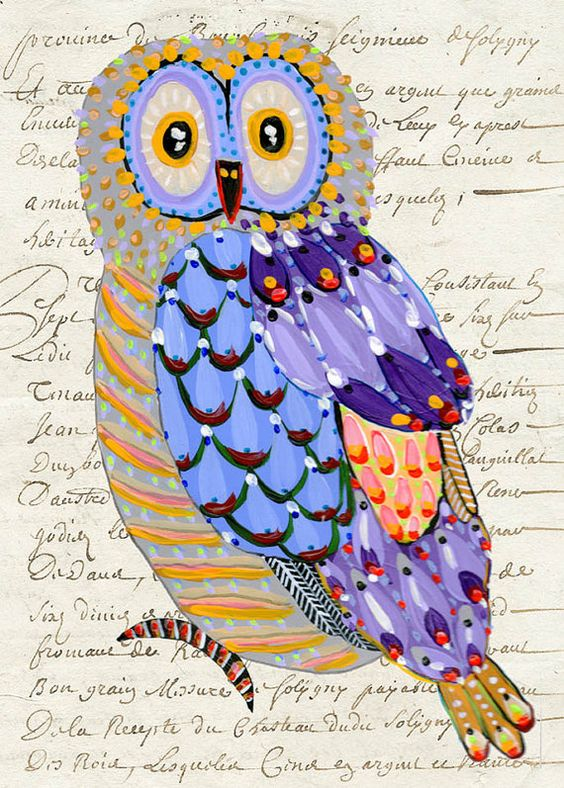 Whimsical Owl Painting art collage print 85 x 11 by irinashop, $20.00