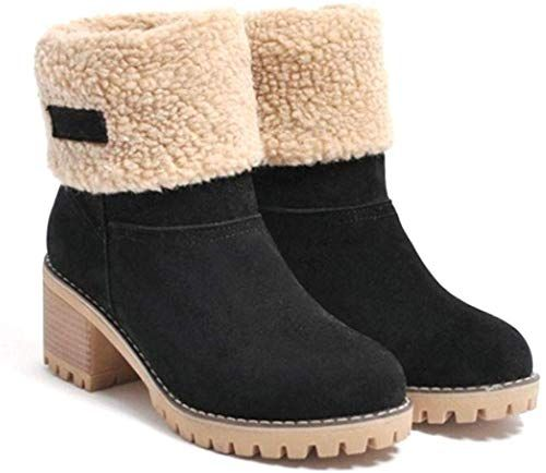 Womens Casual Outdoor Wedge Heel Booties Shoes Zipper Round Toe Warm Cotton Ankle Booties for Women
