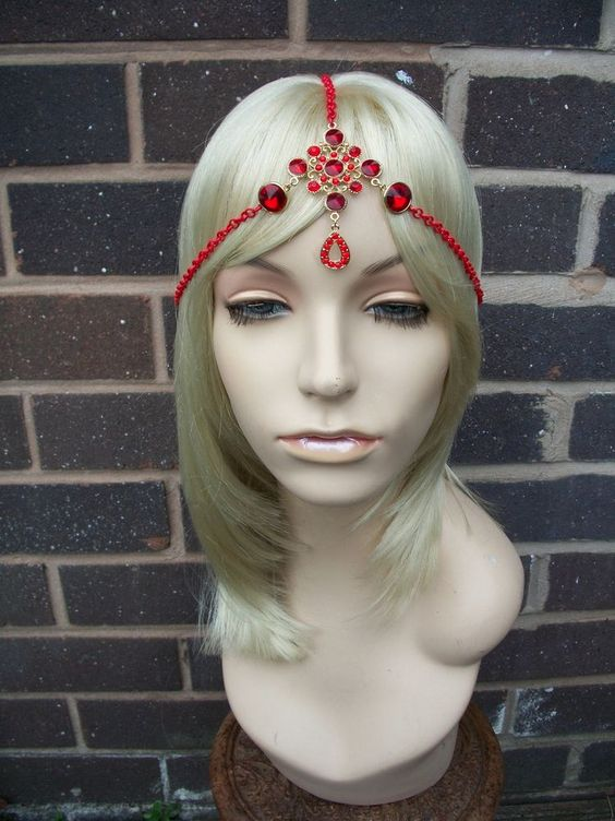 Handmade Red and Gold Festival / Ibiza Tiara Hair Head Band / Head Chain