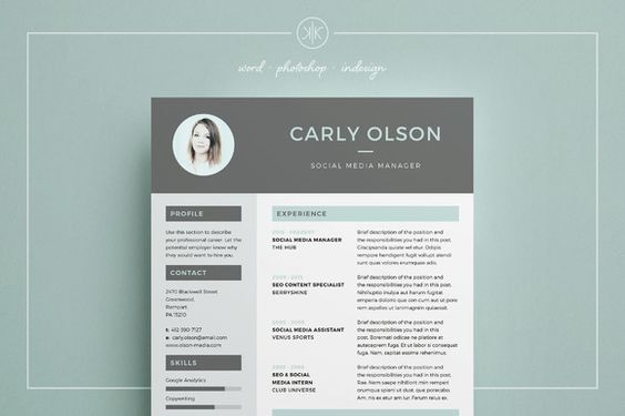Resume/CV   Professional Resume Template   CV Template   Resume Advice   Cover Letter   Word (Mac or PC)   Photoshop   inDesign   Instant Digital Download  Carly by Keke Resume Boutique on @creativemarket