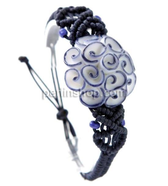 Porzellan Shamballa Armband, mit Nylonschnur, Blume, gewebt, frei von Nickel, Blei & Kadmium, 40x40mm, Länge:6-7.5 Inch, - perlinshop.com