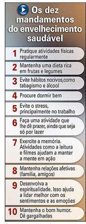 Os 10 mandamentos do envelhecimento saudável  http://receitasfitnesssimples.com.br/