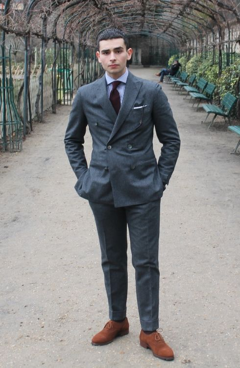Grey double-breasted flannel suit, wide collar shirt, brown suede