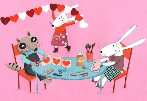 illustration, animal, rabbit, raccoon, interior, naive, valentine. Emilie Chollat