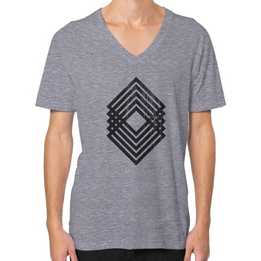Geometric Grunge V-Neck (on man)