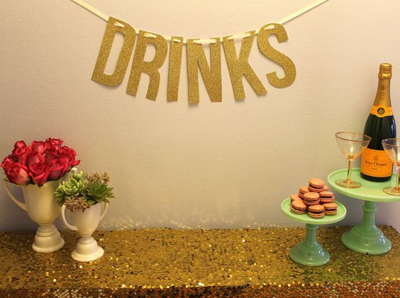 Gold Glitter DRINKS Garland by MintLoveSocialClub, $36.00
