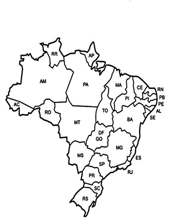Mapa para colorir  Brasil Poltico