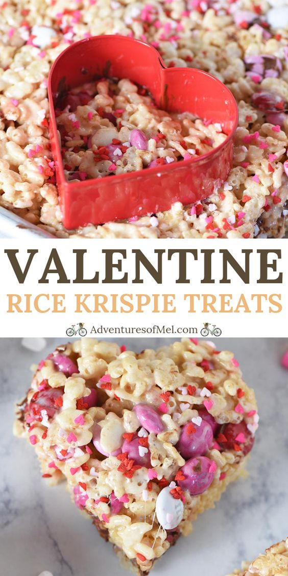 How to make chocolaty heart shaped Valentine Rice Krispie treats with marshmallows, M&M's, and sprinkles. Simple dessert recipe for your sweetie! #adventuresofmel #ValentinesDay #RiceKrispietreats #heartshaped #desserts