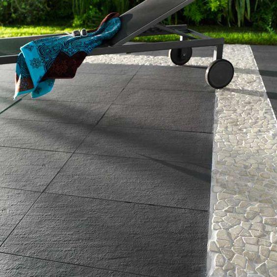 Carrelage terrasse anthracite 30 x 60 cm Lounge - CASTORAMA Garden - photo terrasse carrelage gris