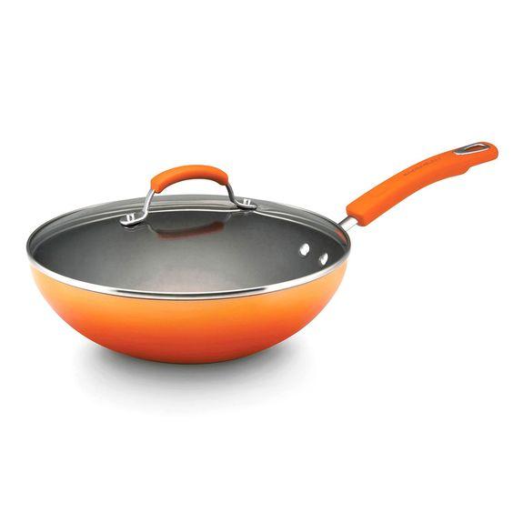Rachael Ray Hard Enamel Cookware 11-inch Covered Stir Fry, 2-tone
