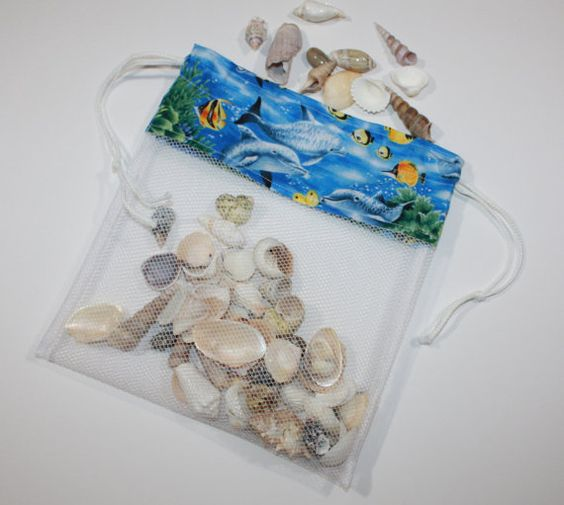 Ready to Ship Drawstring SeaShell Bag Dolphin Reef by FrogBlossoms