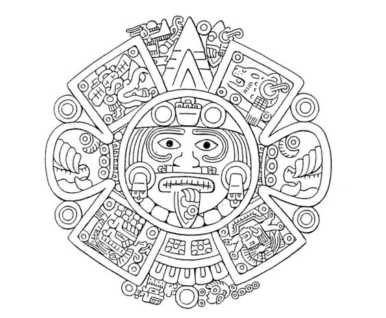 The Center of the Disc - Tonatiuh's Face is the face of the sun, Lord of Heaven, around which takes place all daily and periodic phenomena. The crown, nose-pendant, ear-rings and necklace are magnificent, as must be the ornaments characteristic of this deity. The hair is blond, due to the golden appearance of the sun. The wrinkles on the face show age and maturity. And the tongue, stuck out is the form of an obsidian knife, indicates that the diety demands to be fed with blood and human…