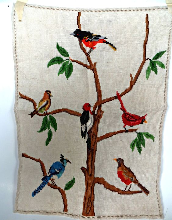 Vintage Dresser Scarf Hand Embroidery in Counted Cross Stitch Birds by FabulousFunFashion on Etsy