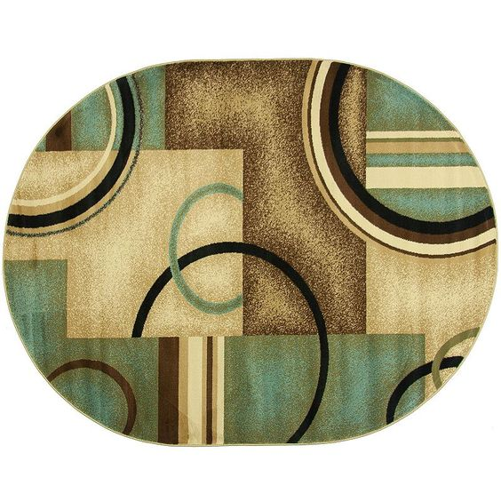 Infinity Home Barclay Arcs and Shapes Rug - 5'3'' x 6'10'' Oval,