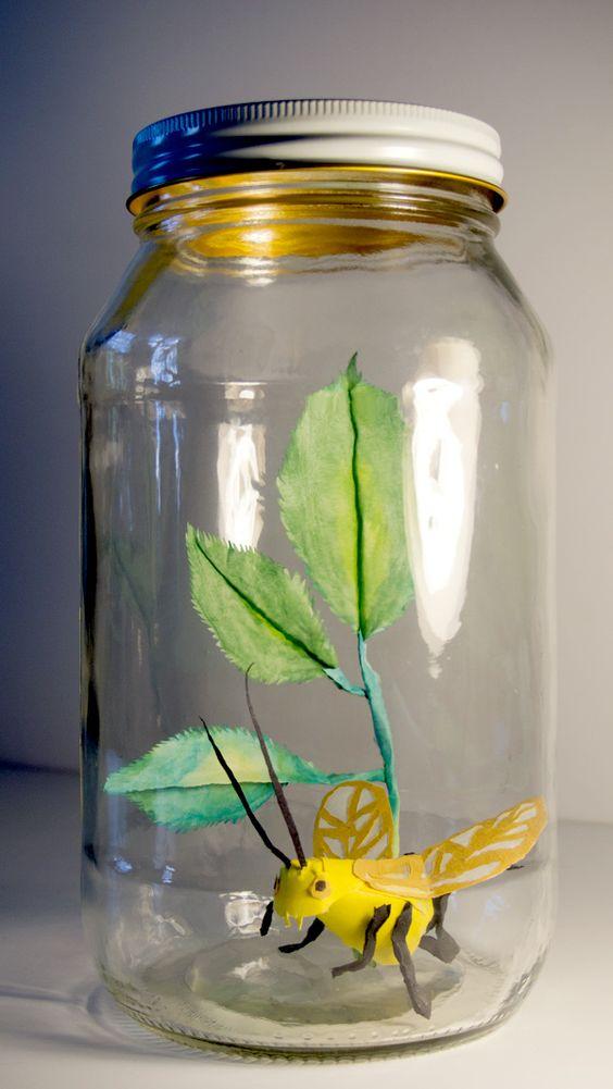 Faux bugs in jars