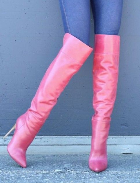 Pink OTK Boots with Back Zip, 5inch Heel Height and 20inch