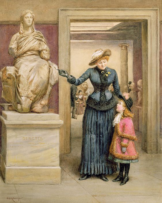 19th; 20th; Artists Wife And Daughter; Mrs; Miss; Interior; Gallery; Statue Of Demeter; Ceres; Female; Marble Sculpture; Victorian; Mother And Child; Teaching; Pleated Skirt; Hats; Hat; Visitors; Visitor Painting - At The British Museum by George Goodwin Kilburne