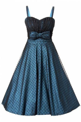 1950s Starlight Teal Black Lace Dot swing dress