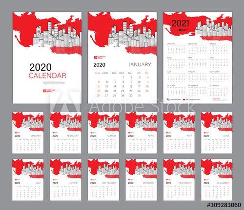 Desk Calendar 2020 Template Red Concept Calendar 2021 Cover Design Week Starts On Sunday Set Of 12 Months Pla In 2020 Planner Template Cover Design Desk Calendars
